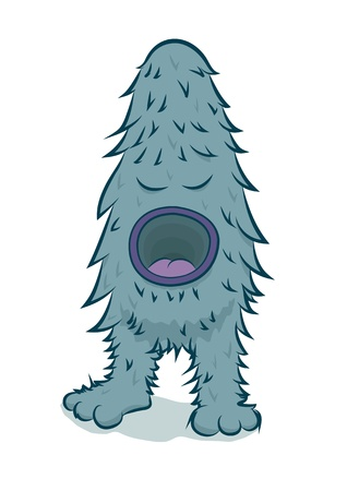 big mouth: Furry blue monster with big mouth  Illustration