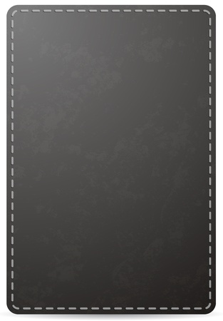leather stitch: Black notebook cover page with leather texture, isolated on white background  Illustration