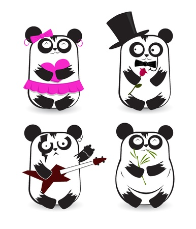 Set of pandas in different outfits  Vector