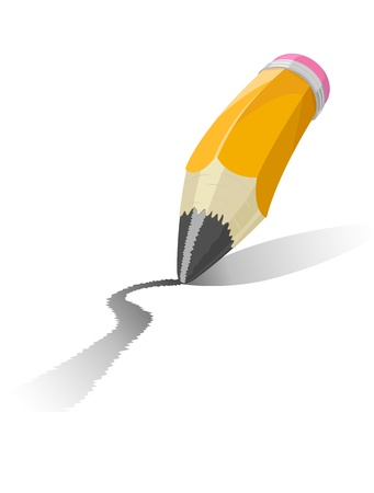 edit icon: Illustration of a pencil isolated on white background
