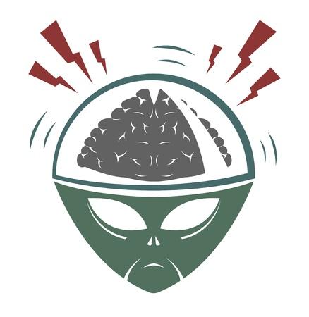 illustration of alien mega brain invader  Vector