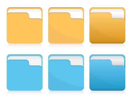 set of orange and blue folder icons  Vector