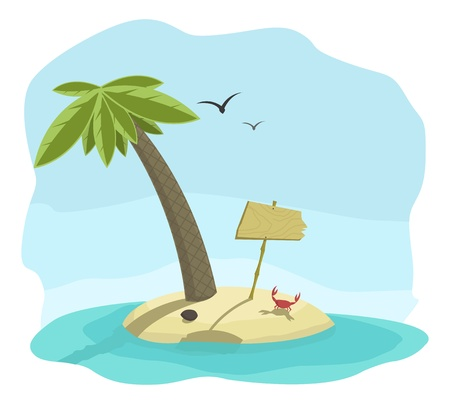 illustration of tropical island with signboard, palm, and crab  Vector