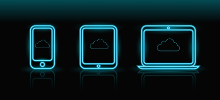 neon blue technology icons on black background Vector