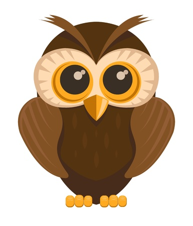 owl cartoon: owl bird, isolated on white background