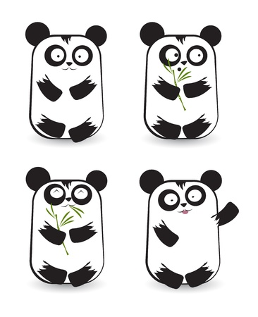 set of cute panda bears with different emotions  Vector