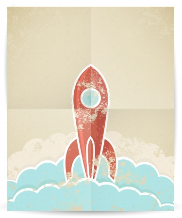illustration of retro rocket with grunge texture  Vector