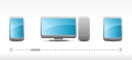 technology icons on light grey background Vector