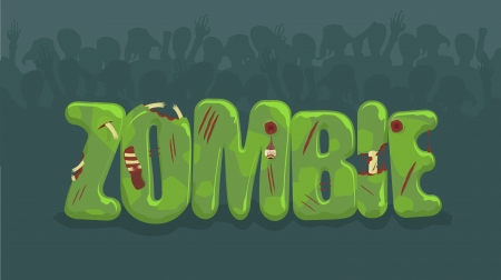 tombes: Signe de zombie avec des silhouettes fantasmagoriques sur le fond Illustration