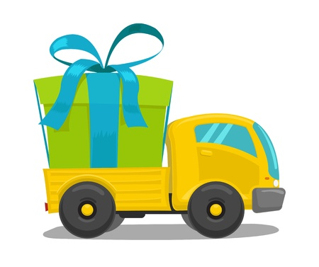 camion Vector avec boîte-cadeau mignon