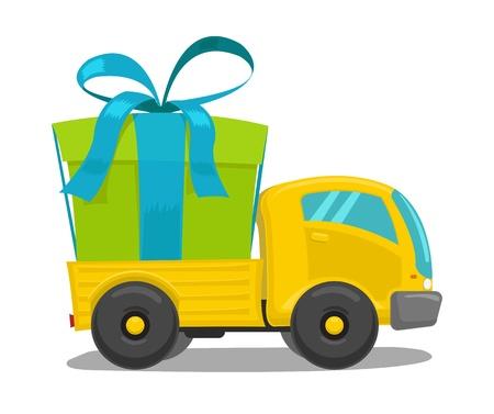 Vector camión con caja de regalo linda