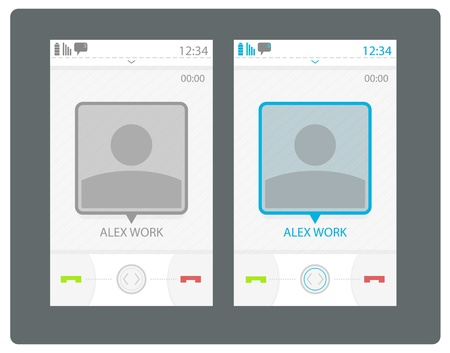 incoming: Vector smart phone user interface, incoming call