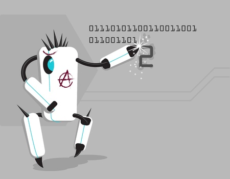 iroquois: Vector funny anarchic robot writing number 2