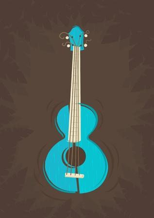 Vector ukulele guitar on tropical plants background  Vector