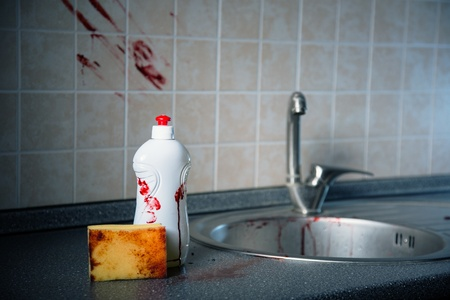 clean blood: Bottle of dishwashing liquid, sponge and tile with bloody fingerprints, Halloween or criminal concept