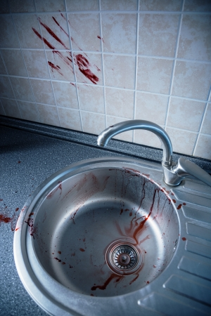 domestic scene: Bloody kitchen tile and washbasin, Halloween or crime concept  Stock Photo