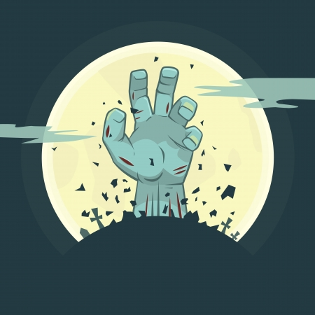 illustration of zombie hand rising from the grave, Halloween theme