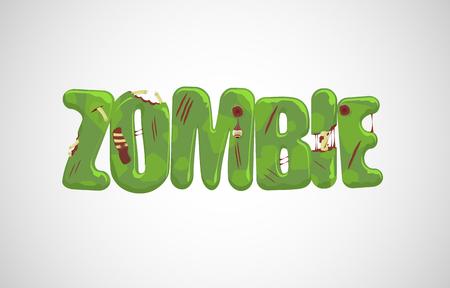 dark skin: zombie text over light gray  Illustration