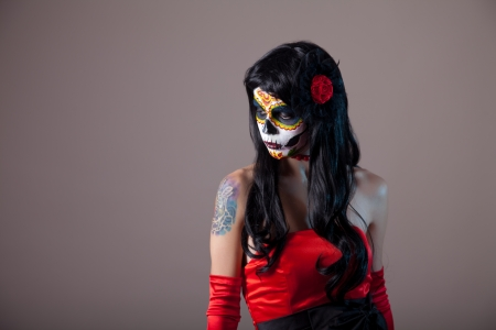 Girl with classic sugar skull makeup, Day of the Dead, Halloween  photo
