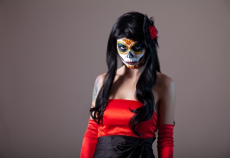 girl in red dress: Sugar skull girl, Day of the Dead, Halloween
