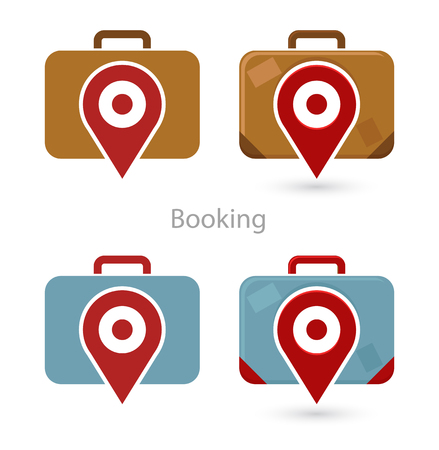 luggage tag: Vector set of booking icons, travel bag, and pointer sign