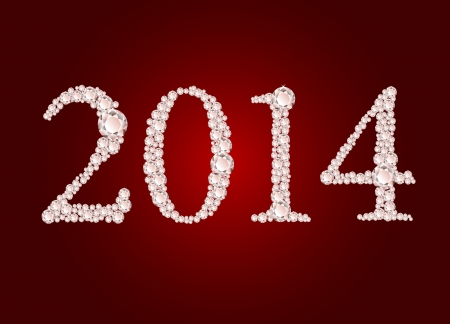 Vector illustration of diamond 2014 year on red background  Vector