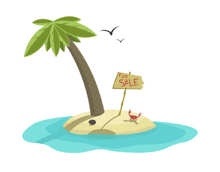 Vector illustration of beautiful tropical island for sale   Vector