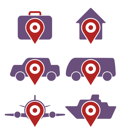 luggage tag: Vector set of various booking icons, accommodation, and transportation  Illustration