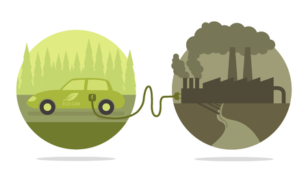 toxic emissions: Vector concept of eco car and polluted cities  Illustration