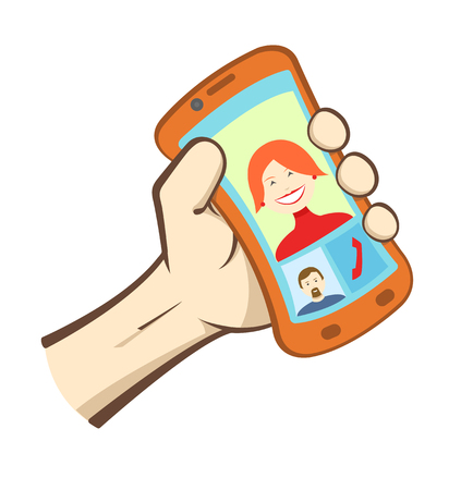 Vector hand holding smart phone, icons showing dialog between man and woman  Vector