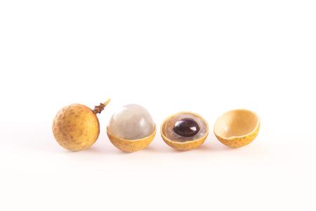 longan: Fresh longan fruits, or dragon eye fruits isolated on white background