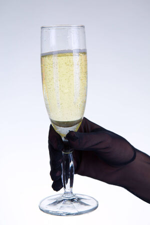 black silk: Woman holding champagne glass, studio shot on gray background   Stock Photo