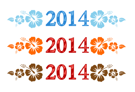 colorful aloha 2014 text with hibiscus isolated on white background  Vector