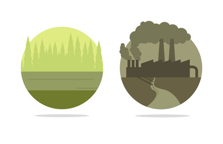 toxic emissions: ecology concept, polluted city vs green forest Illustration