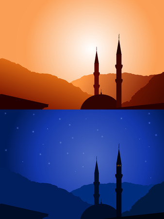mosque silhouette day and night with mountains on background Stock Vector - 27787190