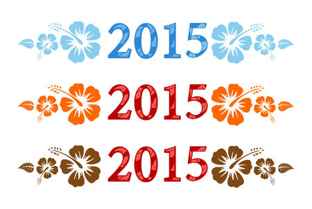 Vector colorful aloha 2015 text with hibiscus isolated on white background  Vector