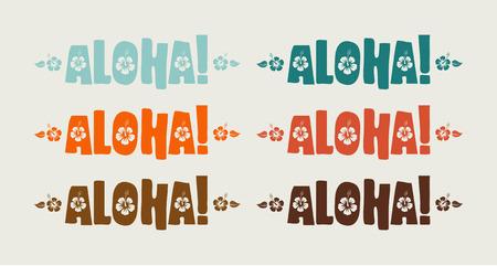Conjunto del vector de la palabra aloha en colores retro, dibujados a mano texto