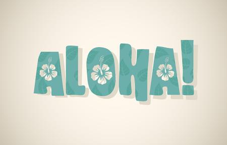 Vector aloha woord in retro kleuren, vintage achtergrond