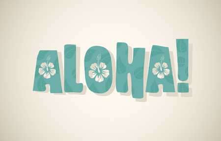 aloha: Vector aloha word in retro colors, vintage background