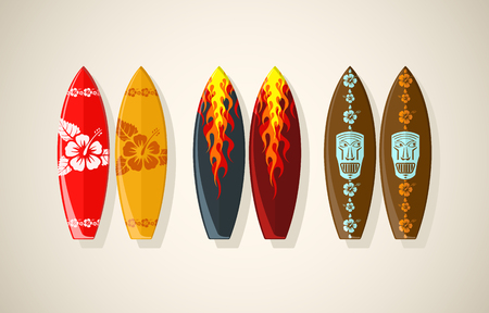 Vector illustration de planches de surf en couleurs d'époque Banque d'images - 29420453