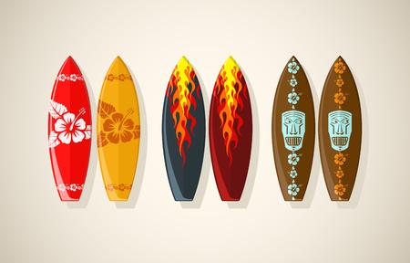 Vector illustration of surf boards in vintage colors  Illustration