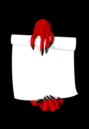 Vector illustration of devil hands holding contract, deal with the devil concept
