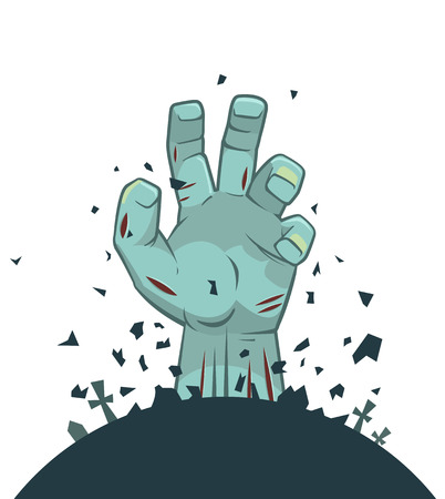 rising an arm: Vector zombie hand rising from the grave, isolated on white background