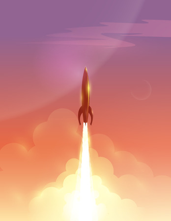Vector illustration of retro rocket over beautiful