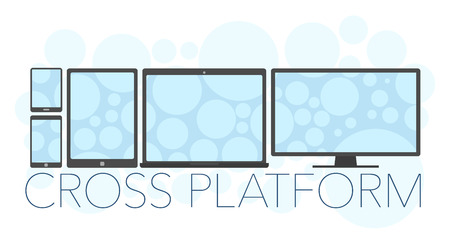 laptop mobile: Vector illustration of cross platform concept, mobile phone, tablet pc, laptop and pc