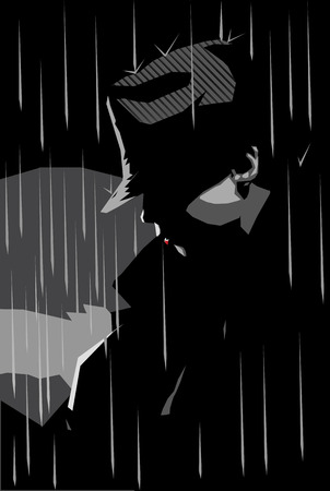 grayscale: Vector illustration of a girl in a jacket and hat with rainy background, noir style  Illustration