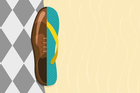 flip flop: Vector illustration of formal shoe and flip flop with copy-space, vacation concept  Illustration