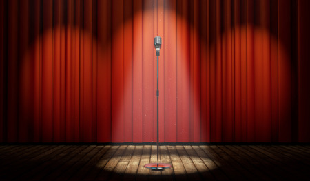 mic: 3d stage with red curtain and vintage microphone in spot light, with magical particles   Stock Photo