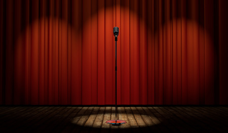 3d vintage microphone in spot light on stage with red curtain