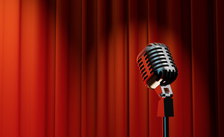 3d retro microphone on red royal curtain background  photo